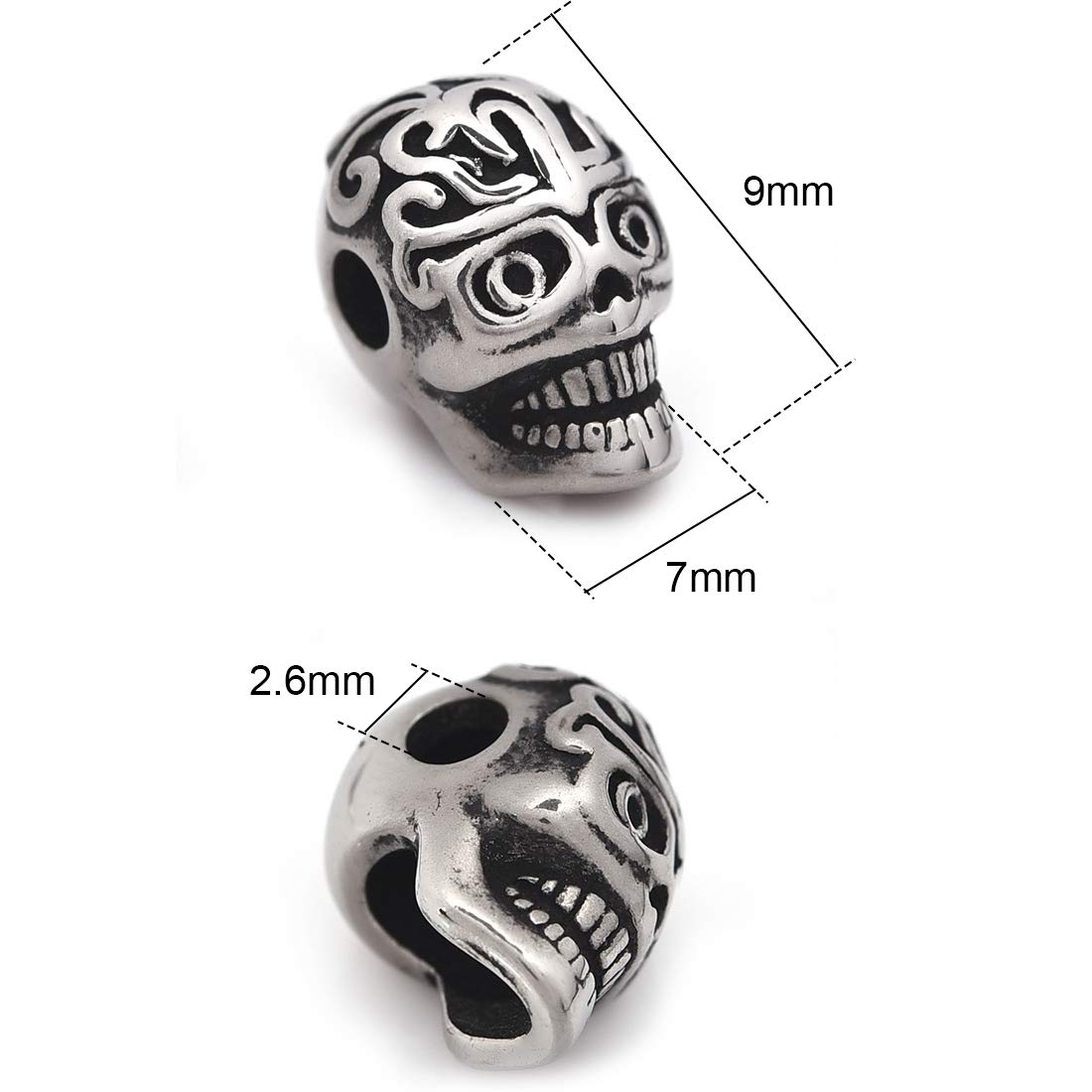 Tibetan Skull Beads 6 x 9mm Antique Silver 30 Pcs Art Hobby DIY Jewellery Making
