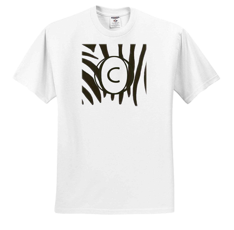 3dRose CherylsArt Monograms Black and White Zebra Print Stripes Monogram Letter C ts/_312249 Adult T-Shirt XL