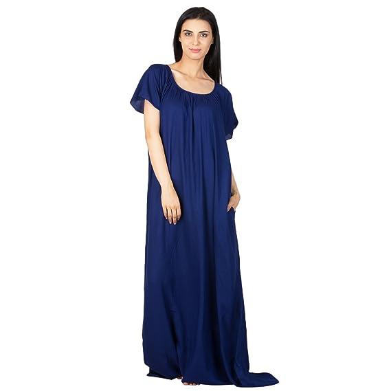 6828b45bec Patrorna Women s Shift Maternity Nighty Night Dress Gown in Royal Blue (Size  S