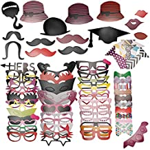 Neewer® 76PCS Colorful Props Photo Booth with Stick Mustache Glasses Hats Flavor Fun for Party, Prom, Wedding, Birthday, Christmas