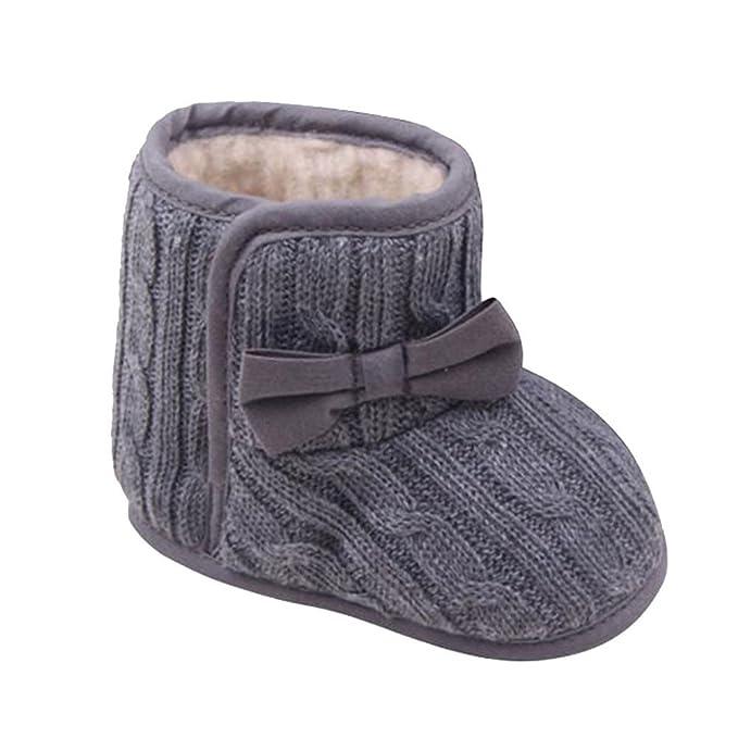 YanHoo Botas de Nieve para niños Antideslizante Bebé Bowknot Suela Suave Invierno cálido Zapatos Botas Zapatos de Arco de Algodon Mantener Caliente Zapatos ...