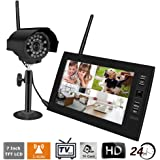 7 inch TFT Digital 2.4G Wireless Cameras Audio Video Baby Monitors 4CH Quad DVR Security System With IR night light Cameras