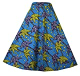 Decoraapparel Wrap Around Skirts African Wax Print Women's Flared Skirt Cotton Maxi Bright Colors