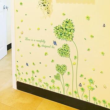 Amazon.com: Love Heart Shape Five Leaves Grass Butterflies Wall ...