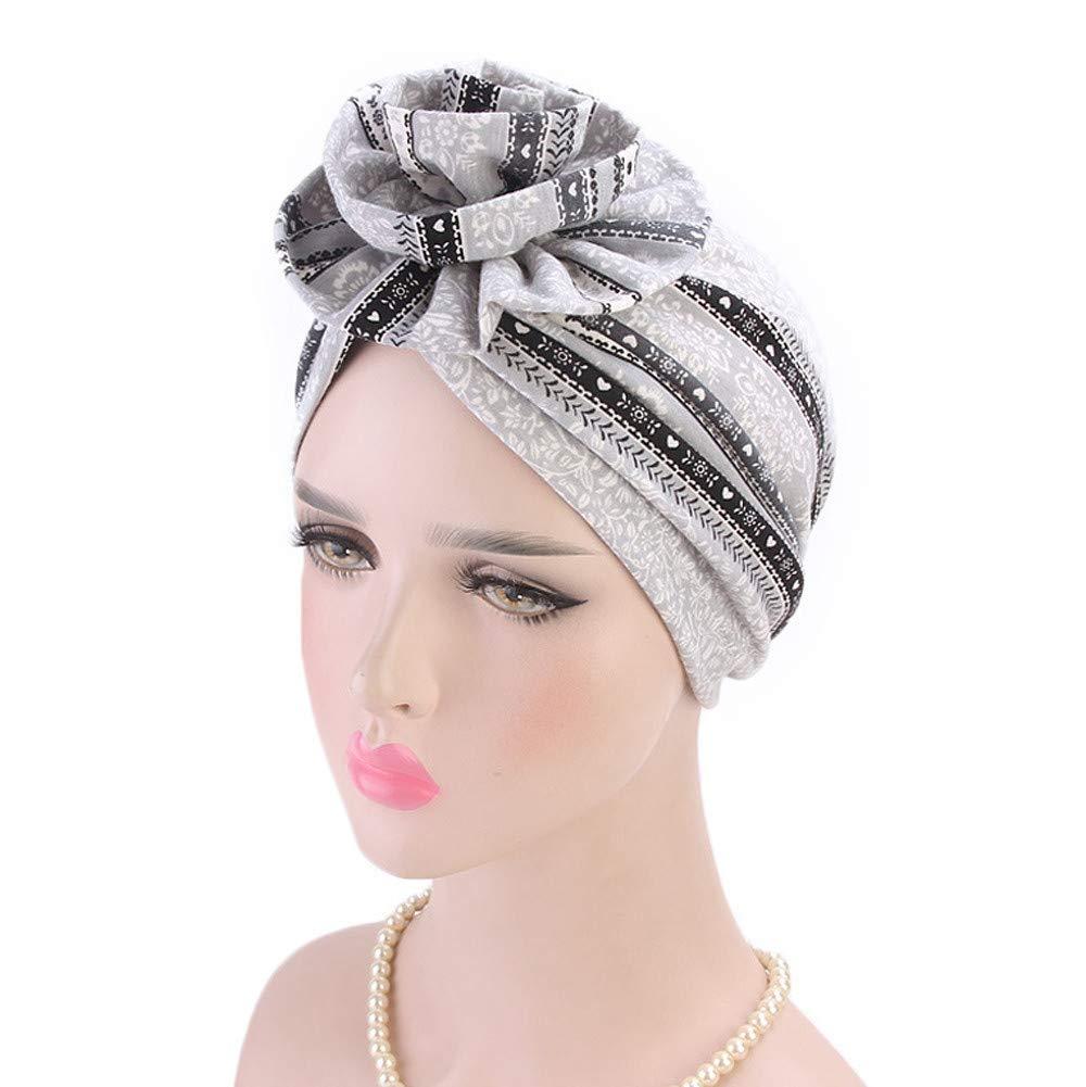 Women Fashion Floral Printed Twist Pleated Hair Wrap Ruffles Stretch Turban Head Wrap Chemo Cap(Gray)