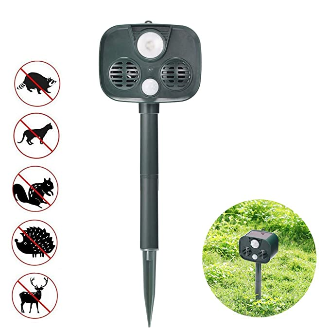 SROMEZ Repelente para Gatos con LED Carga Solar Uso en Exteriores para Exterior y Jardín Impermeable para Ratas, Perros, Gatos, Aves, Zorros y Otros: ...