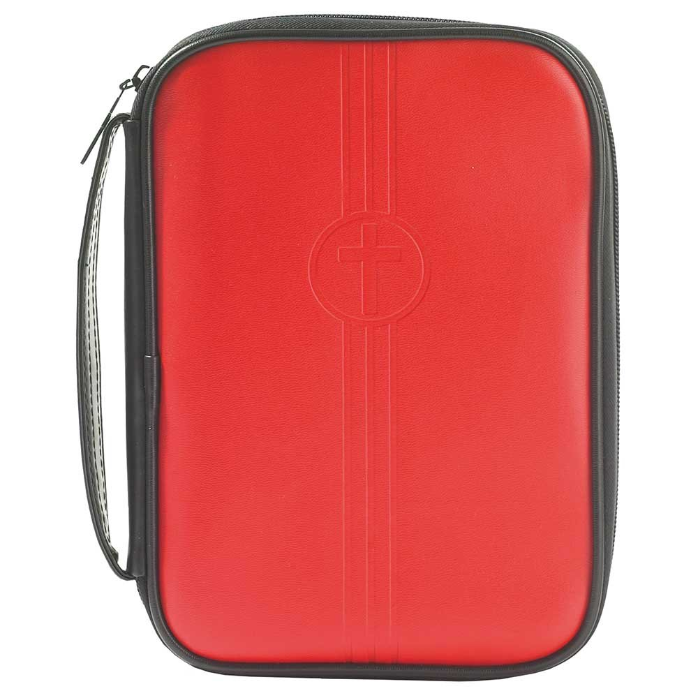 Red Embossed Cross 7.5 x 9.75 Leather Like Vinyl Thinline Bible Cover Case with Handle