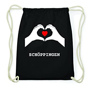 JOllify Schöppingen Hipster Sacca Borsa Zaino in cotone–colore: nero