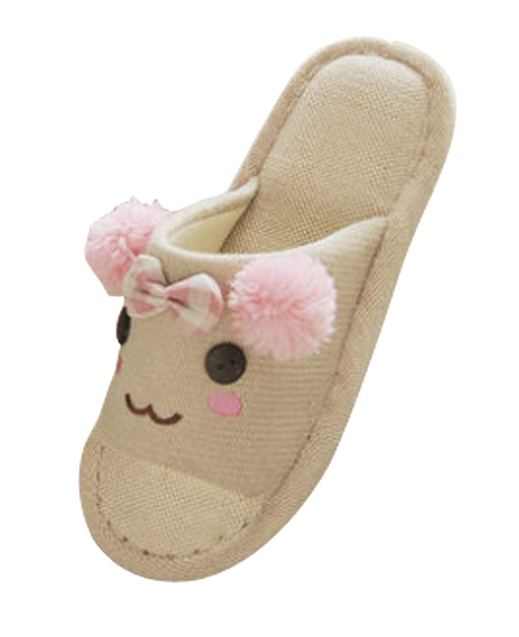Cattior Toddler Little Kid Flax Cute Kids Slippers House Slippers