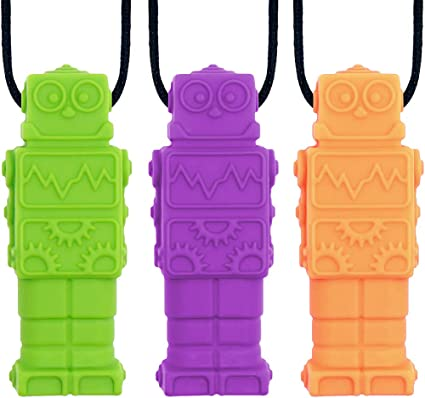 New Teeth Necklace Baby Teether Autism Sensory Chew BPA Free Silicone Robot Toy