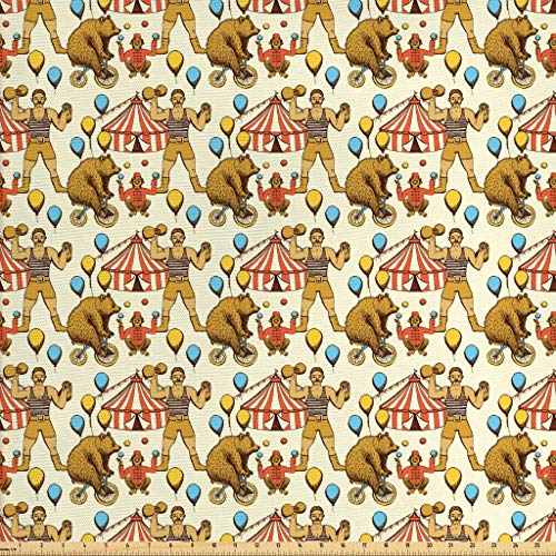 Lunarable Circus Fabric by The Yard, Sketchy Circles in Vintage Style Bear Rigdding on a Bicycle Strongman Print, Decorative Fabric for Upholstery and Home Accents, 1 Yard, Amber Orange - Fabric Upholstery Vintage