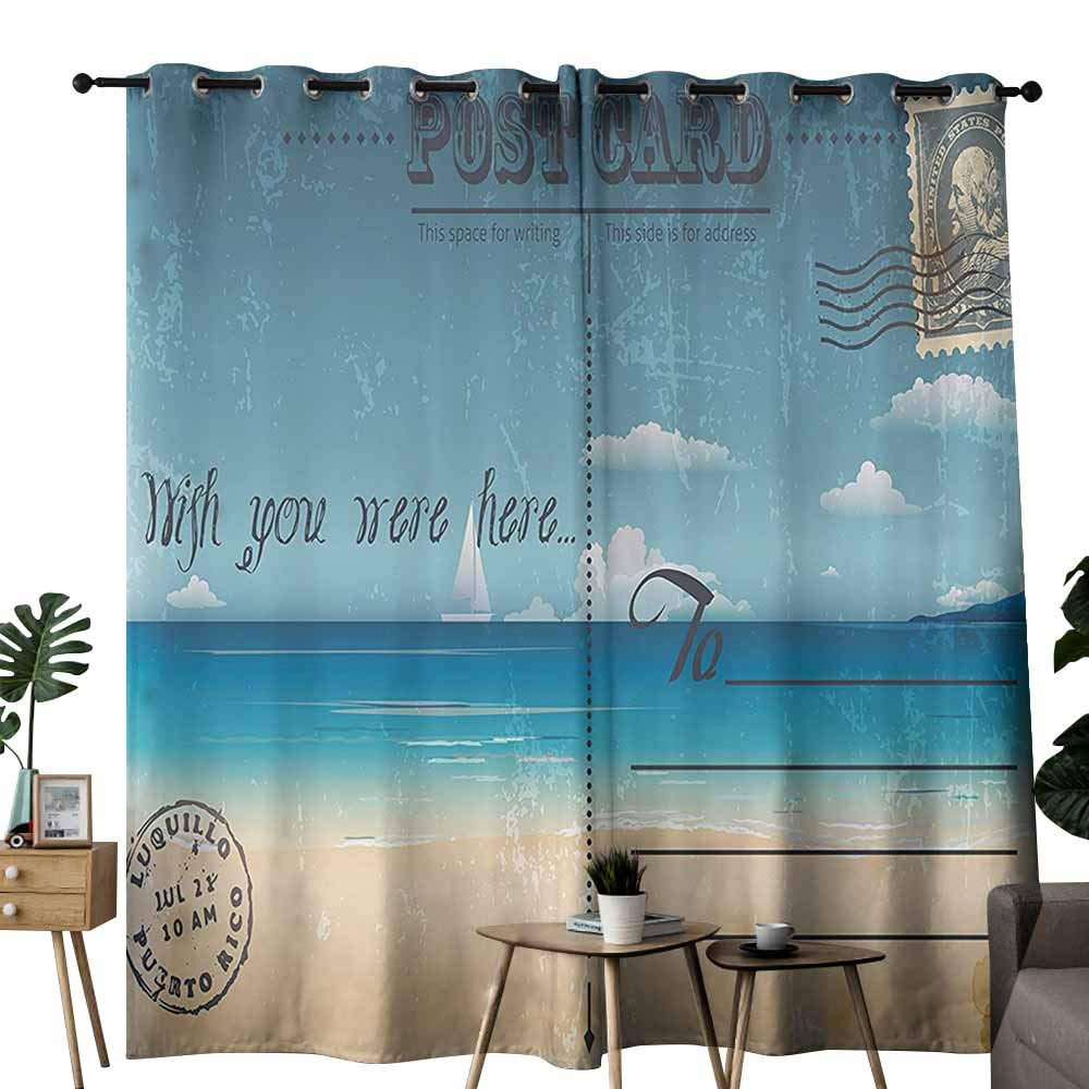 duommhome Postcard Decor Perforated Curtain Nostalgic Tropical Summer Backdrop on Vintage Card Stamp Travel Print Provide You with a Good Indoor Environment W72 xL84 Sand Brown Teal