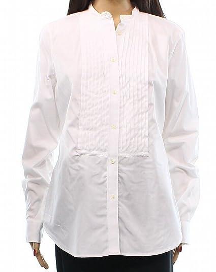 25d6cd46 Lauren Ralph Lauren Womens Long Sleeves Tuxedo Button-Down Top White ...