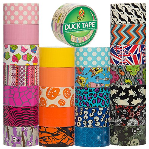 Duck Brand Duct Tape (25 Random Rolls) Colored Duct Tape Multi Pack For Duct Tape Craft Wallet Decorative Designs DIY Duct Tape Bulk Set Lot by Duck