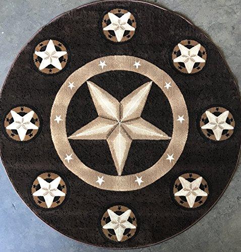 (Skinz Texas Lone Star Round Area Rug Chocolate Brown Design 78 (5 Feet X 5 Feet Round))