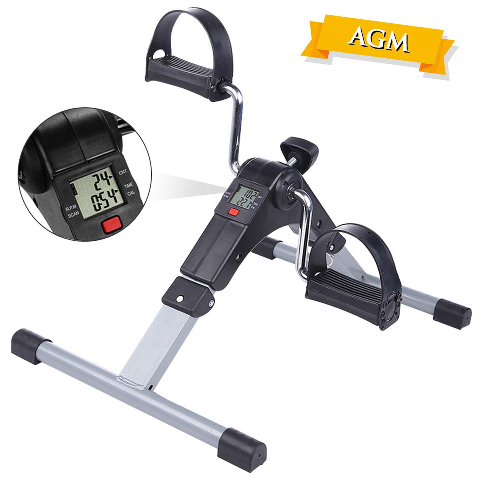 AGM Pedales Estaticos, Mini Bicicleta Estática, Pedaleador Plegable LCD Pantalla, Máquinas de Piernas
