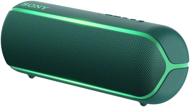 Sony SRS-XB22G - Altavoz Inalámbrico Portátil (Bluetooth, Extra Bass, Diseño Portátil, Batería hasta 12h, Sonido Live Sound, Party Booster, Luces, Resistente al Agua y Polvo IP67) Verde