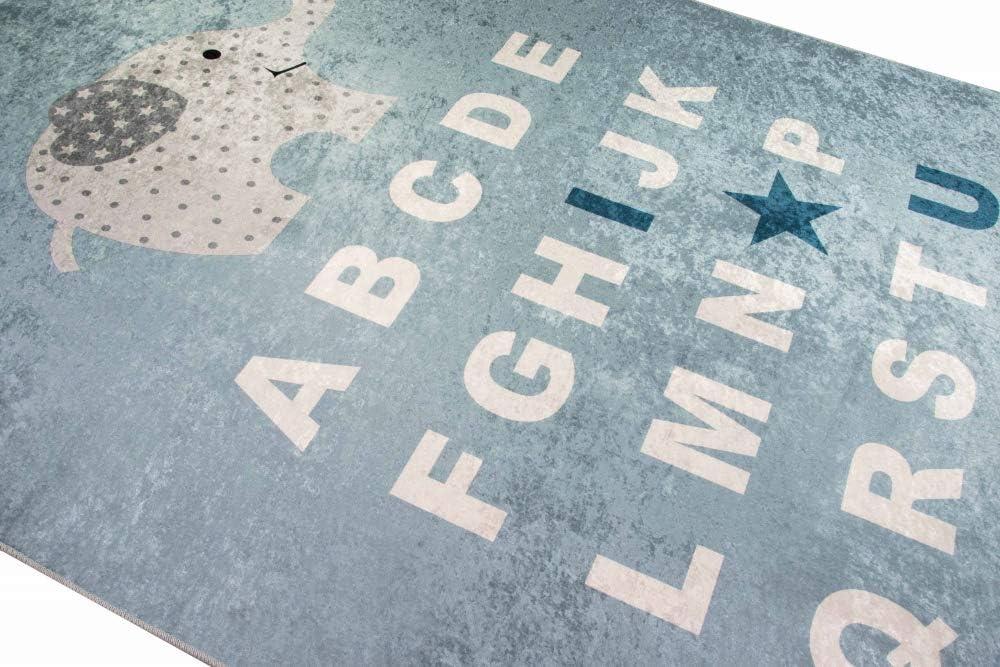 Merinos Tapis de Jeu ABC Learning Alphabet Tapis Enfant /él/éphant en Bleu Gr/ö/ße 80x150 cm