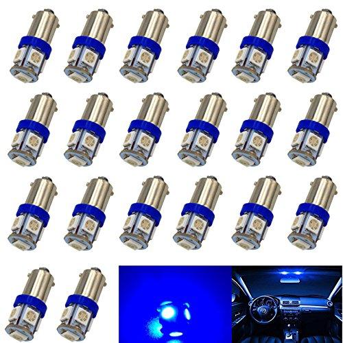 BlyilyB BA9S Blue 5050-5SMD 53 57 1815 1895 LED Bulb Car Vehicle Dome Light (Pack of 20)