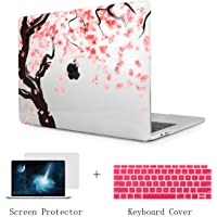TwoL Print Hard Shell Case and Keyboard Cover Screen Protector for New MacBook Air 13 inch 2018 Release Model:A1932 with Retina Display Cherry Blossoms 13 Inches