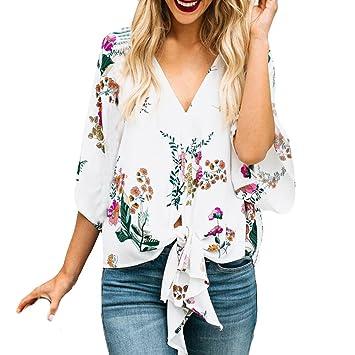 LILICAT® Camiseta de manga tres cuartos mujer, blusa con cuello en V alta cintura