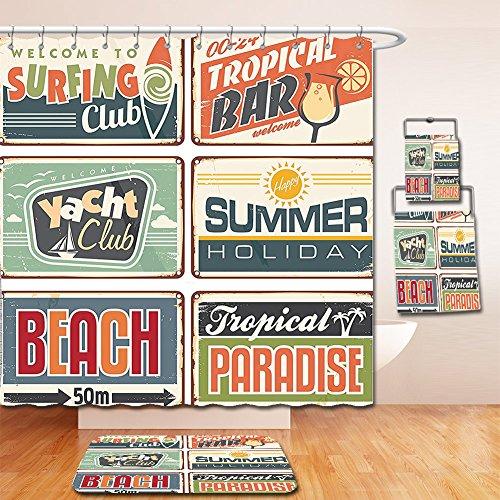 Nalahome Bath Suit: Showercurtain Bathrug Bathtowel Handtowel 1950s Decor Summer Holiday Vintage Camping Beach Sign Boards in Old Style Faint Colors Art Print Multi 61UwNqq32 2BL