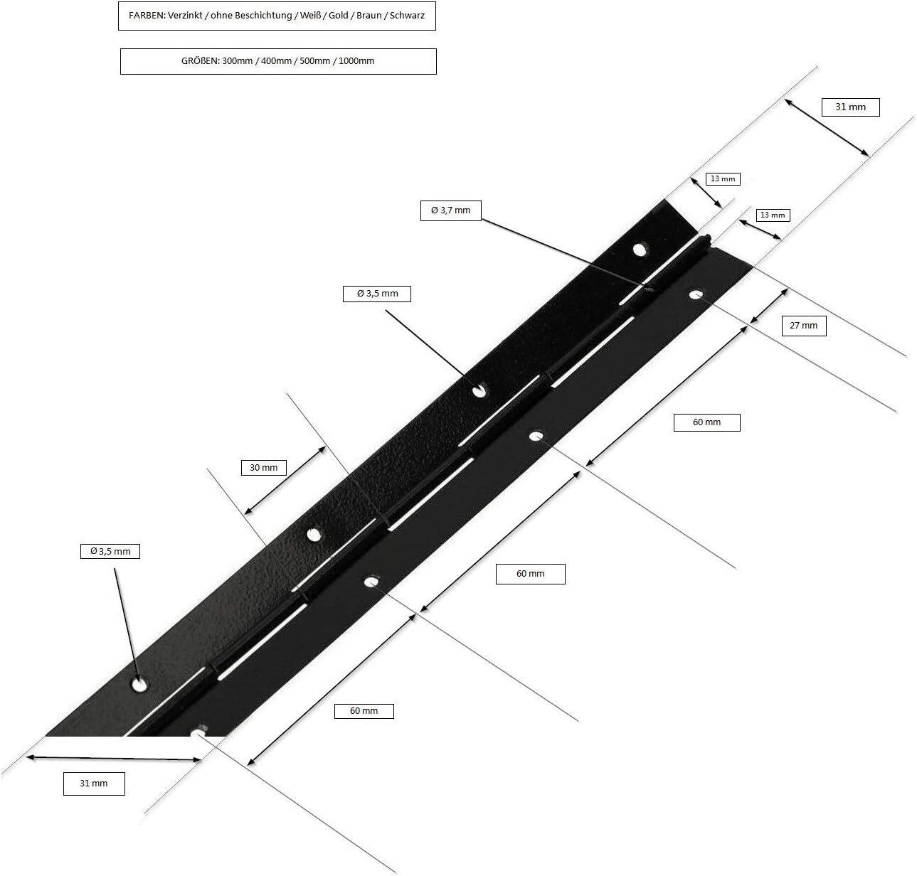 KOTARBAU/® Stangenscharnier Klavierband 300//31 mm Alle Farben Teilbar//Schneidbar Scharnier K/ürzbar Stabil Anschwei/ßband Scharnierband M/öbelscharnier 1, Braun