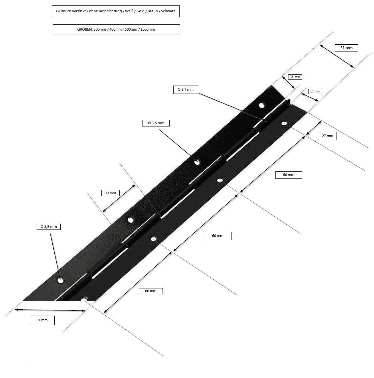KOTARBAU Stangenscharnier Klavierband 500//31 mm Alle Farben Teilbar//Schneidbar Scharnier K/ürzbar Stabil Anschwei/ßband Scharnierband M/öbelscharnier 1, Wei/ß