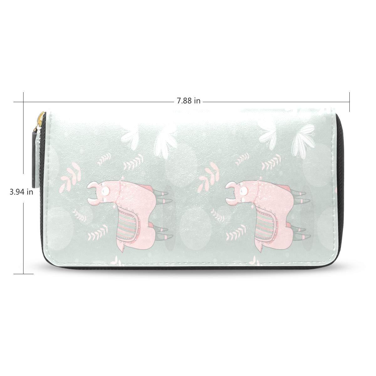 Women Lama Light Green Leather Wallet Large Capacity Zipper Travel Wristlet Bags Clutch Cellphone Bag