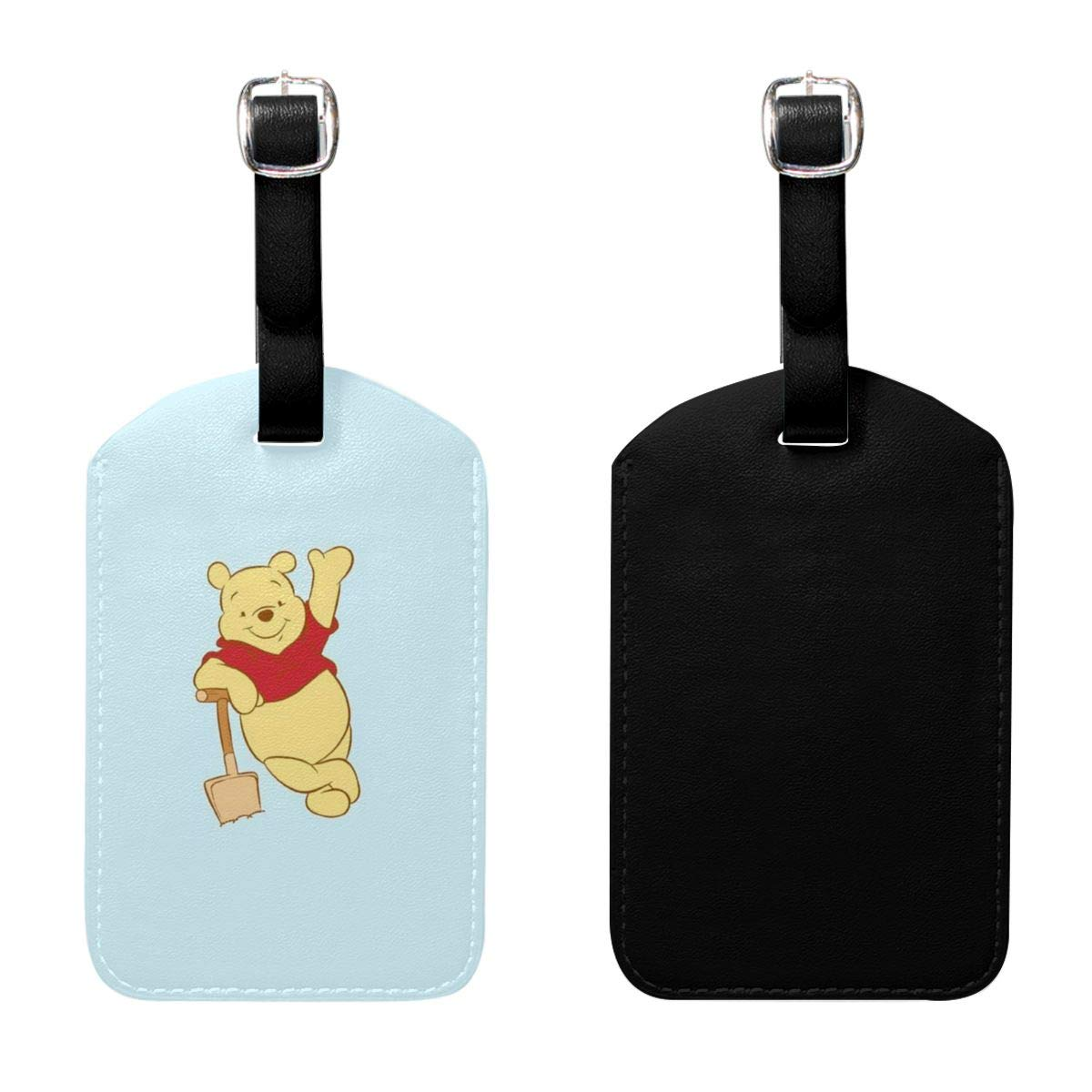 Set of 2 PU Leather Luggage Tags Pooh Bear Suitcase Labels Bag Adjustable Leather Strap Travel Accessories