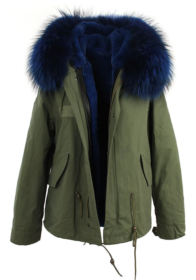 Women's XXL Army Green Large Raccoon Fur Collar Hooded Coat Parkas Winter Jacket (Medium, Army Green-Blue)