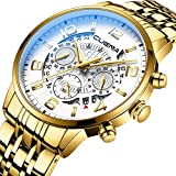 Chronograph Watches for Men with Stainless Steel Band and Waterproof Analog Wrist Watch