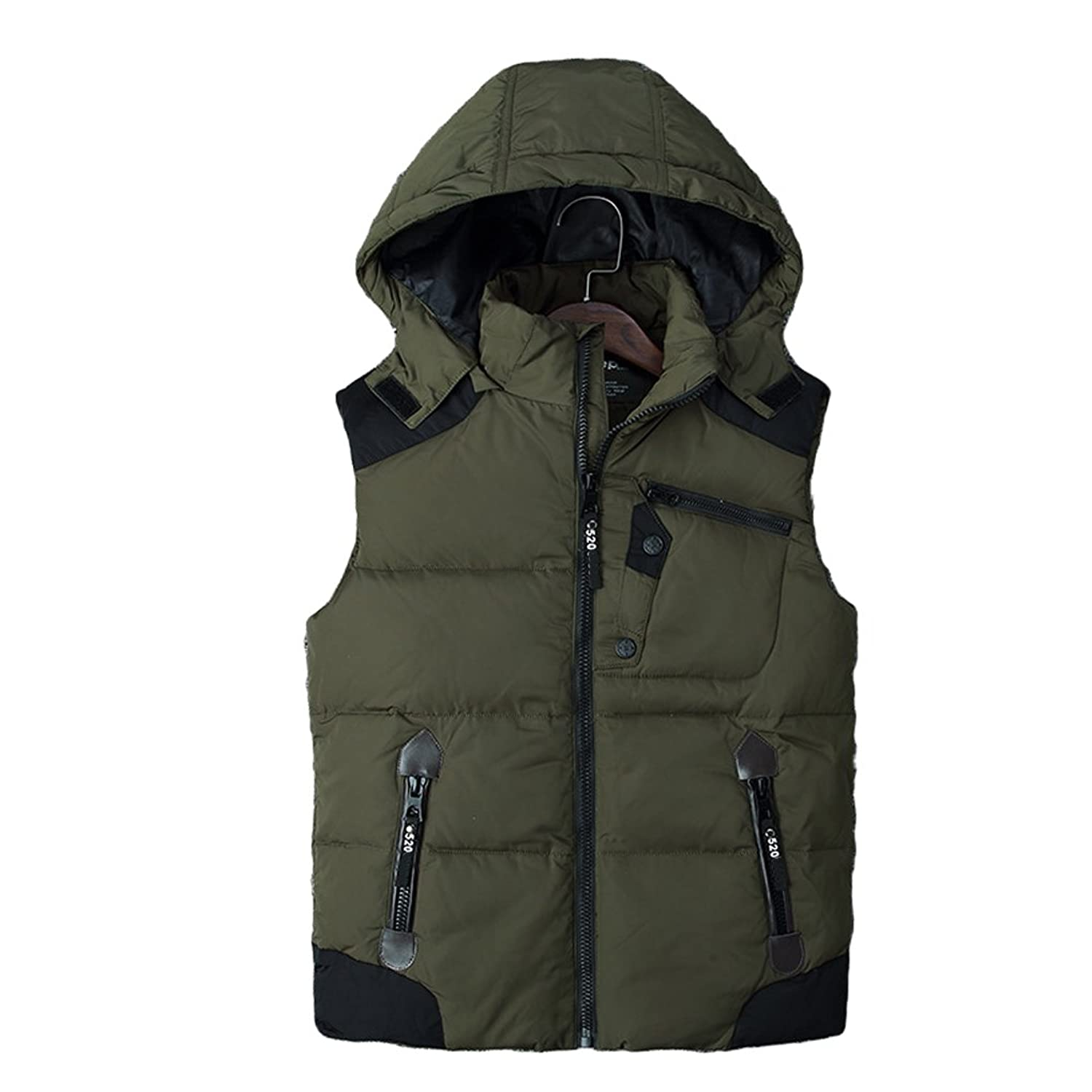 Zhhlinyuan Men's Winter Down Vest Hoodie Jacket Thick Outerwear Sleeveless