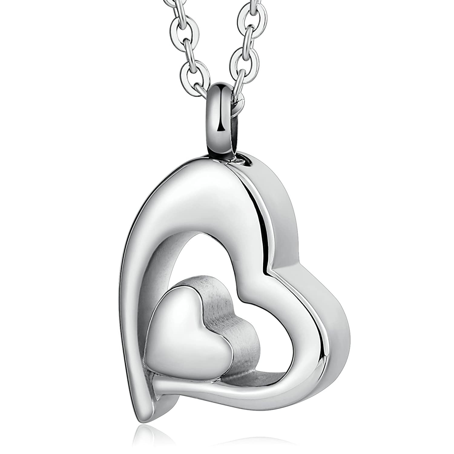 Stainless Steel Memorial Cremation Jewelry Heart Urn Pendant Necklace for Ashes