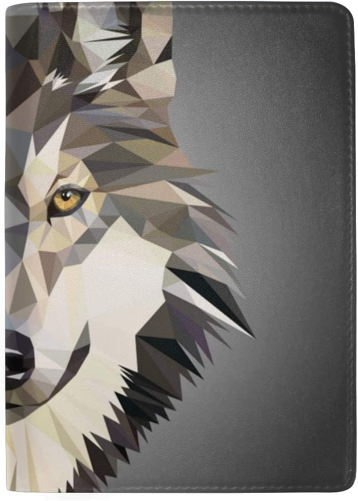 Grey Wolf Portrait Animal Blocking Print Passport Holder Cover Case Travel Luggage Passport Wallet Card Holder Made With Leather For Men Women Kids Family