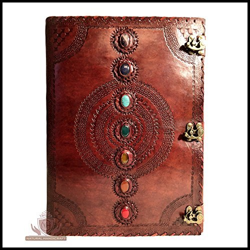 Seven Chakra Medieval Stone Embossed Handmade Leather Journal Book of Shadows Notebook Office Diary College Book Poetry Book Sketch Book 14 x 22 Inches (Journal Shadows)