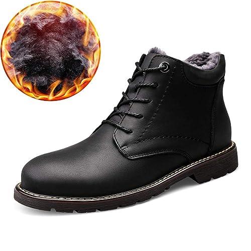XHD-Mens Shoes Botas clásicas de Moda para Hombre Botines Casual Piel de Vaca Alto