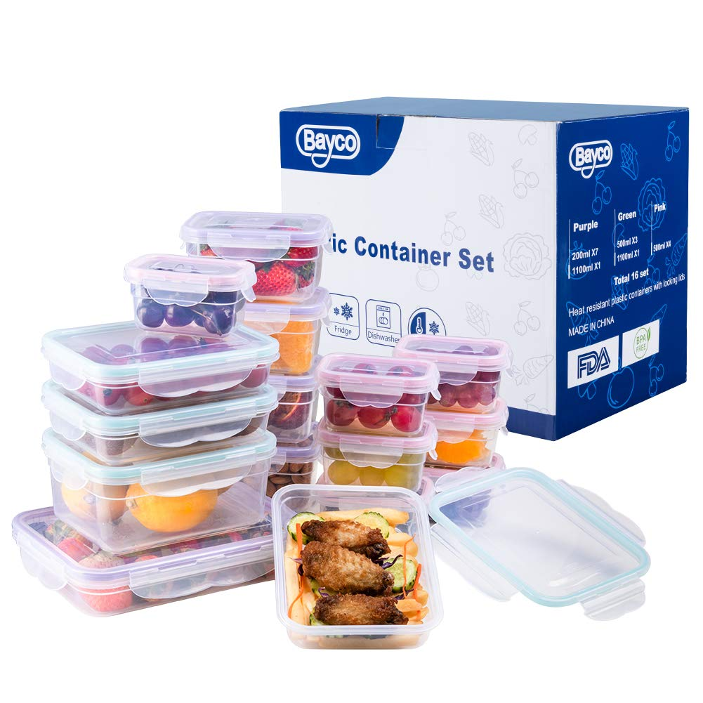 [16 Pack] Food Storage Containers with Lids, Plastic Food Containers with Lids, Airtight Storage Container Sets for Healthy Diet, Vegetables, Snack & Fruit (Small&Large Size), BPA Free & Leakproof by Bayco (Image #3)