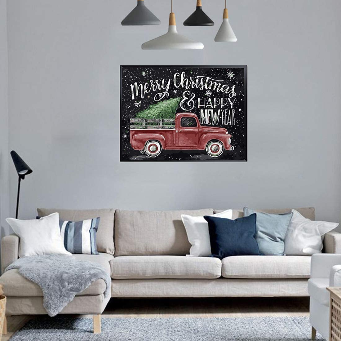 Karyees 16x20 Inch Christmas Red Truck Paint by Numbers Kits Presents for Kids and Adult Christmas Tree DIY Painting by Numbers DIY Canvas Painting by Numbers Acrylic Painting Kits Happy New Year