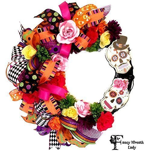 Sugar Skull Halloween Grapevine Wreath - Ready to Ship