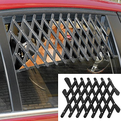 5starsuperdeals Dog Window Guard Gate Vent - Expandable Car Window Ventilation Safe Guard Grill (Regular, Black)