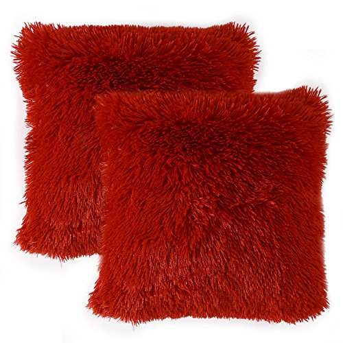 MIULEE Pack of 2 Luxury Faux Fur Throw Pillow Cover Deluxe Decorative Plush Pillow Case Cushion Cover Shell for Sofa Bedroom Car 18 x 18 Inch Burgundy (Sale Red Pillows Couch For)