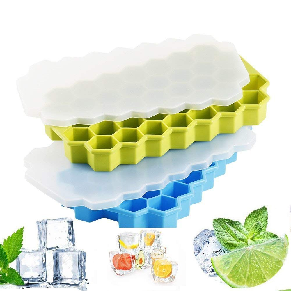 Ice Cube Trays with Lids 2 Pack, Trippix Easy Release Silicone Ice Cube Trays - 37 Ice Cubes, BPA-Free Ice Cube Mold Set for Freezing Baby Food, Cocktails, Whiskey - Dishwasher Safe
