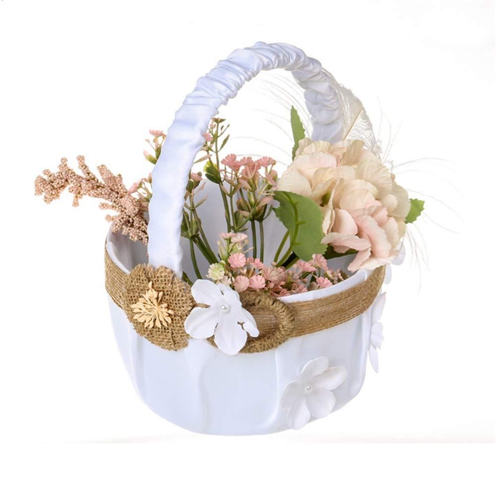 Wedding Flower Basket Womens Wedding Flowers Basket Flower Basket Floral Lace Basket Flower Girl Portable Flower Basket Wedding Accessory (Color : White)