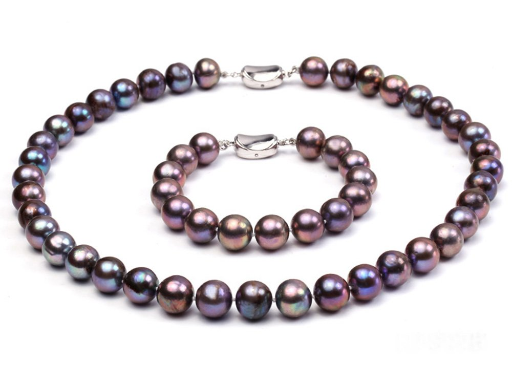 JYX 11-12mm Black Round Freshwater Pearl Necklace and Bracelet Set
