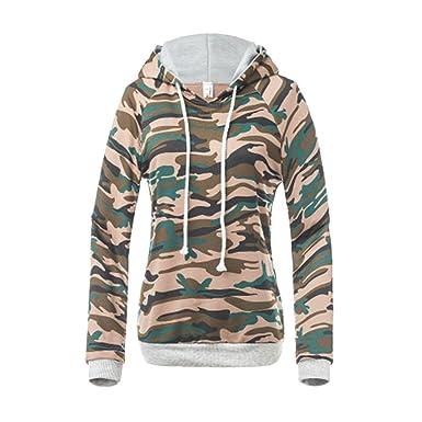 77d2f1ff4a745e BLTR-Women Long Sleeve Camo Drawstring Hoodie Outwear Sweatshirt Pullover  at Amazon Women's Clothing store: