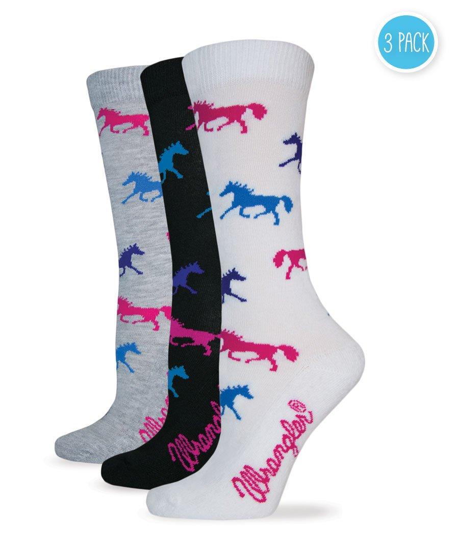 Wrangler Women's Ladies Horse Crew Socks 3 Pair Pack, White/Black/Grey, Medium
