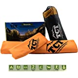 Camping & Outdoor Towel Set - 2 Quick Drying Microfiber Towels, super absorbent, anti bacterial and lightweight. Easily packable in the included stuff sack.