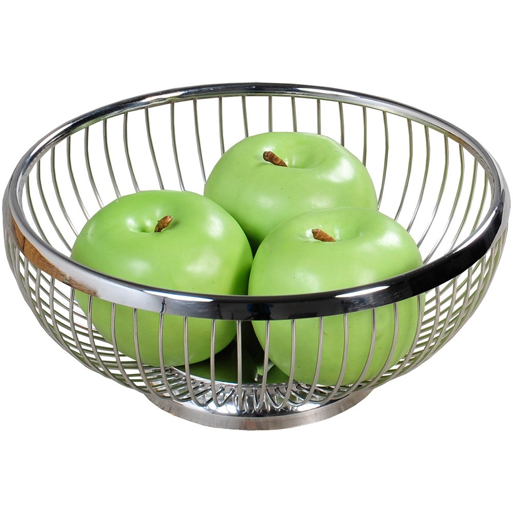 Kesper 90842 Fruit/Bread Basket round 8.66'' of metal, Silver
