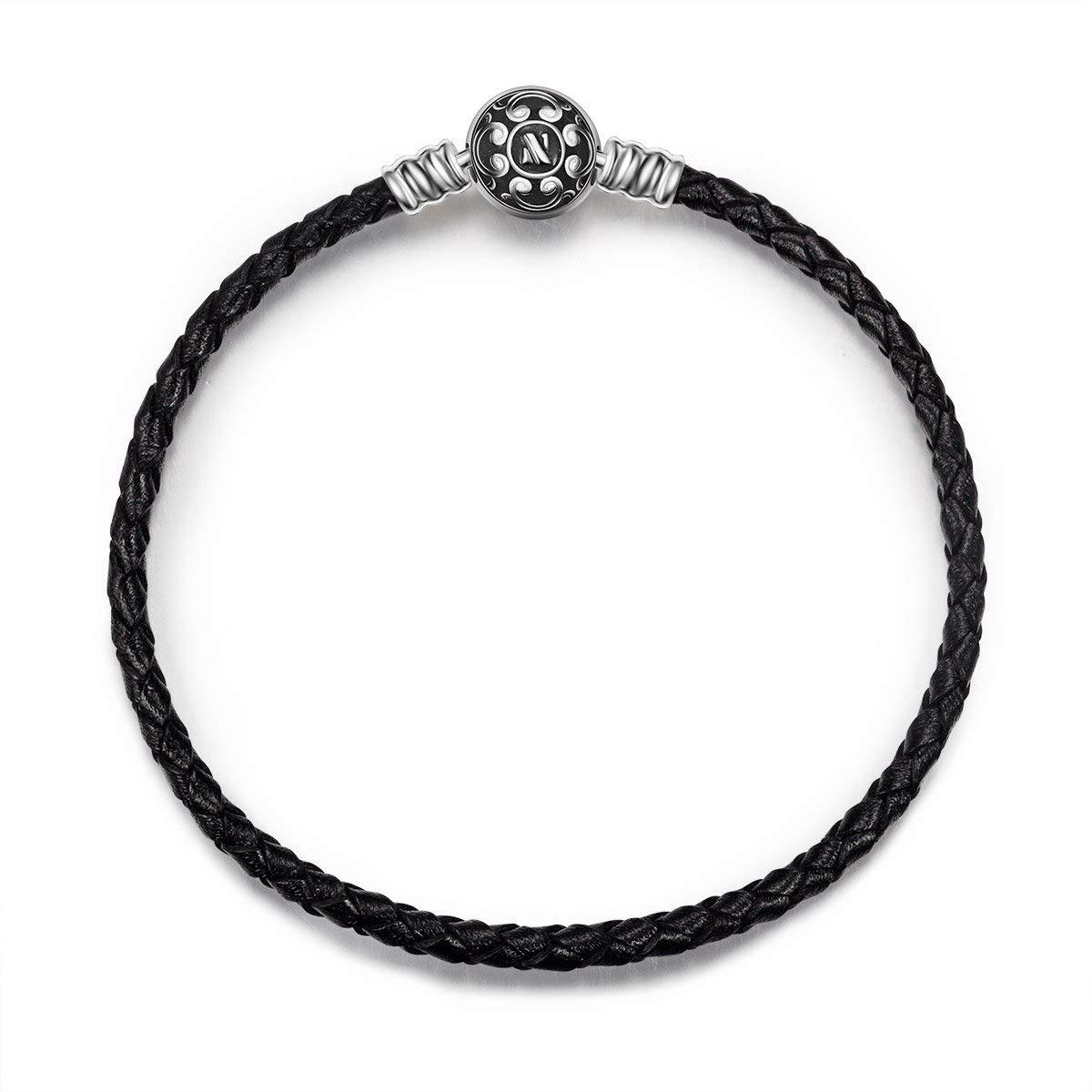 NINAQUEEN Charms Bracelet pour femme argent PU & 925 Black 19cm, Livré dans Une Boîte Cadeau Bijoux, Test Sgs Passé sans Nickel, sans Allergène NQB5377BB-XJ